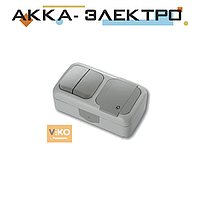 Комбинация розетки с заземлением и выключателя 2-кл.ViKO Palmiye 90555582 Серый