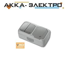 Комбінація розетки з заземленням та вимикача 2-кл. ViKO Palmiye 90555582 Сірий