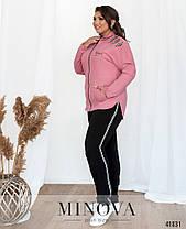 Яркий женский спортивный костюм украшенный шнуровкой большой размер от  50 до 62, фото 3