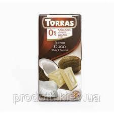 Шоколад білий Torras без цукру з кокосом, 75 г