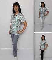 Женский медицинский костюм принт Коты ментоловые в ряд, фото 1