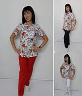 Жіночий медичний костюм Шарм принт Коти червоні в ряд, фото 1