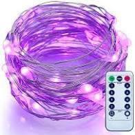 Светодиодная гирлянда LTL нить капля росы 100 led, 10 метров c пультом фиолетовая Purple, батарейки