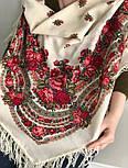 Розовый сад 1901-1, павлопосадский платок шерстяной с шерстяной бахромой, фото 4