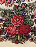 Розовый сад 1901-1, павлопосадский платок шерстяной с шерстяной бахромой, фото 3
