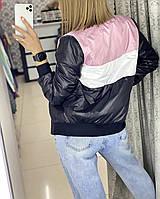 Женская демисезонная ветровка бомбер куртка черная красная бежевая белая пудра на синтепоне 42 44 46 цветная