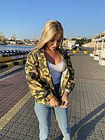Женская летняя осенняя ветровка защитного цвета хаки 42-44 46-48 на молнии с надписями с накатом стильная