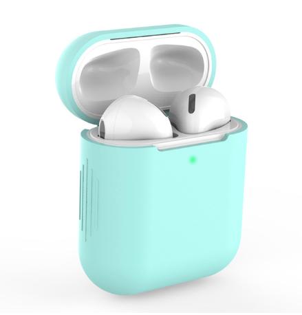 Чехол для наушников Apple Airpods TWS i10 i12 i13 Silicone Case Цвет Бирюзовый (зелёный)