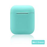 Чехол для наушников Apple Airpods TWS i10 i12 i13 Silicone Case Цвет Бирюзовый (зелёный), фото 2