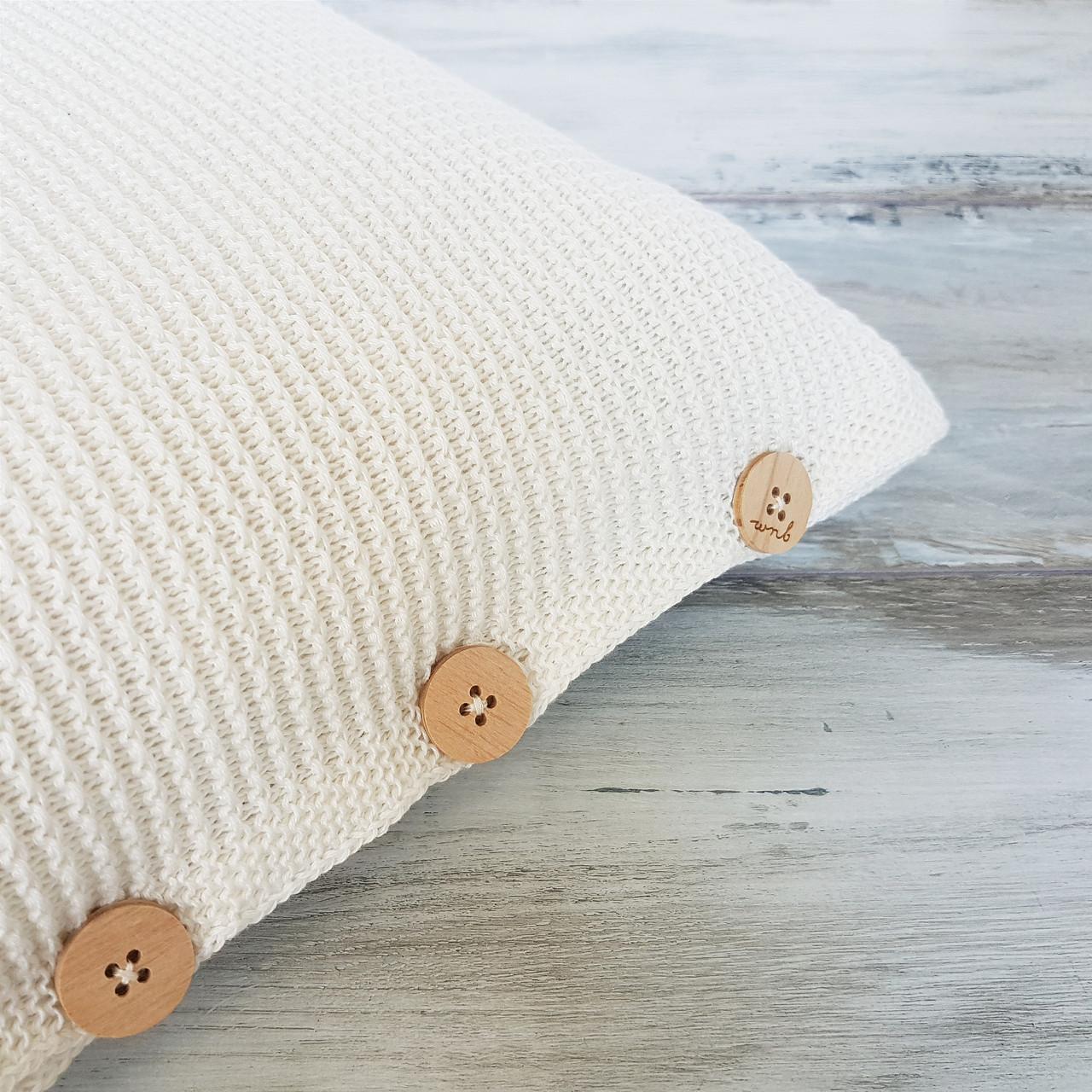 Чохол для подушки Ohaina в'язаний 40х40 Warm white