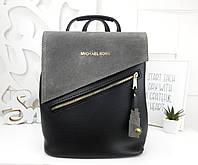 Женская сумка-рюкзак цвета серый+черный, натуральный замш+эко кожа структурная (под бренд)
