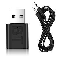 USB ЮСБ Блютуз Bluetooth 5.0 для ноутбука, ПК, телевизора - приемник с разъемом Jack, фото 1