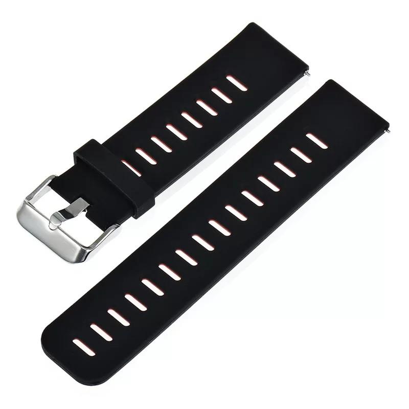 Силіконовий ремінець для смарт годин 22 мм Чорний з вставкою