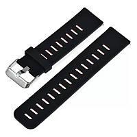 Силіконовий ремінець для смарт годин 22 мм Чорний з вставкою, фото 1