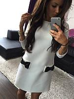Однотонное платье с кожаными бантиками (разные цвета)