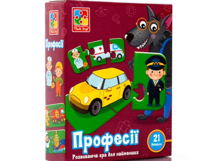 Розвиваючі дитячі пазли Професії (укр), Vladi Toys (VT1804-32)