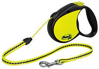 Flexi (Флекси) Рулетка для собак и кошек Neon small, черная трос неон 5м*12кг