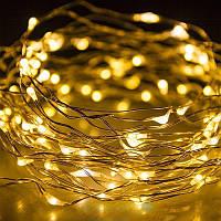 Светодиодная гирлянда нить LTL длина 10м 100led на батарейках золотая теплая Warm Gold