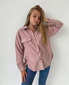 Женская вельветовая рубашка оверсайз 13-252