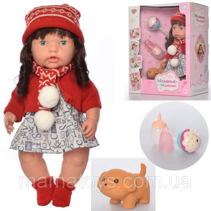 Кукла M 4334 UA Рост 40 см. Бутылочка, пищалка, леденец, пьет - писяет,