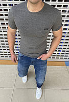 Мужская брендовая футболка Armani Jeans H0829 серая