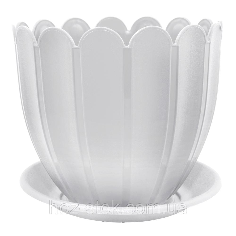 Вазон з підставкою Марго Алеана 18х16 см, 2.4 л (білий)