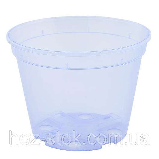 Вазон дренажний Алеана 14х10.5 см, 1.06 л (фіолетово-прозорий)