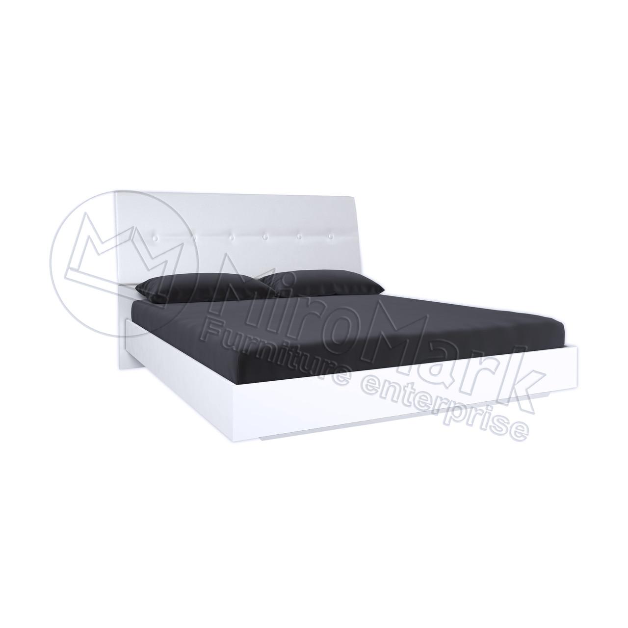 Кровать Рома без каркаса с мягкой спинкой Белый глянец ТМ МироМарк