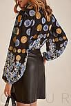 Короткая юбка из эко-кожи черная, фото 4