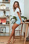 Короткая юбка трапеция голубая, фото 3