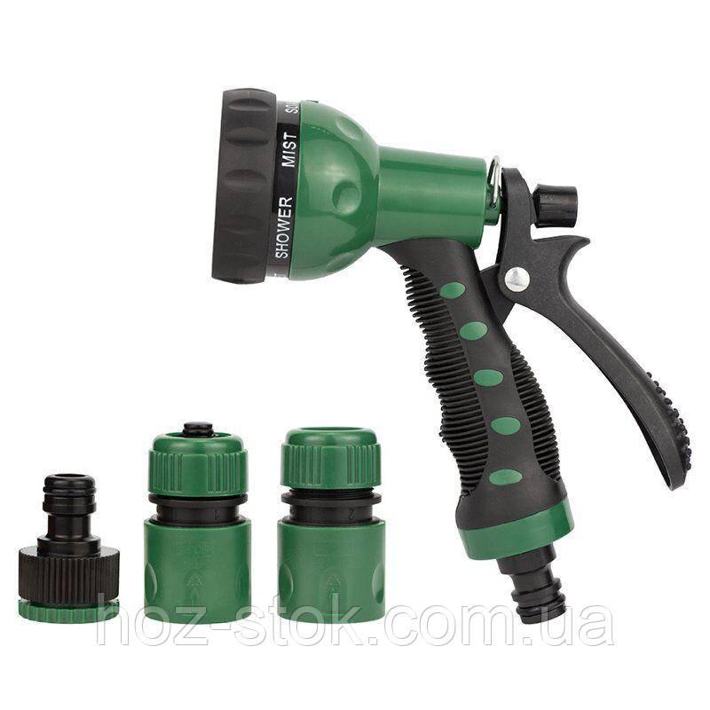 Набір для поливу: пістолет розпилювач 7-ми режимний, 2 коннектора, адаптер (ABS+TPR) (5012505)