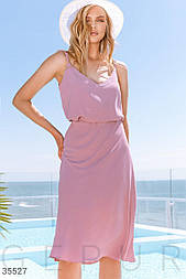 Летняя юбка миди прямого кроя розовая