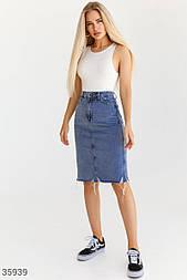 Джинсовая юбка-карандаш длины миди