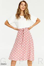 Летняя юбка миди в горошек розовая