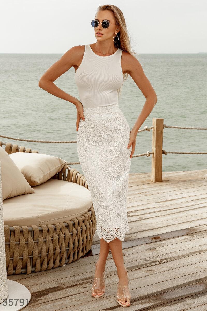 Кружевная юбка карандаш длины миди белая