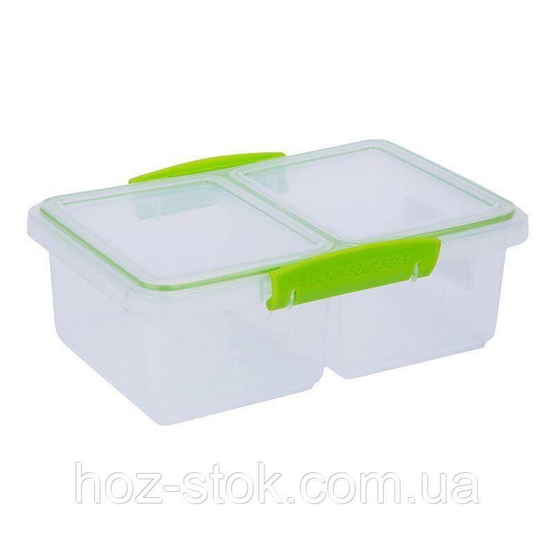 Контейнер для харчових продуктів 1 л прямокутний подвійний (Берлусконі Твікс)