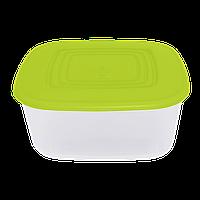 Контейнер для харчових продуктів Алеана квадратний 3 л (прозорий / оливковий) (167015)