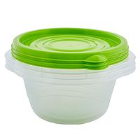 Контейнер для харчових продуктів Омега Алеана круглий 0.44 л (прозорий/оливковий)