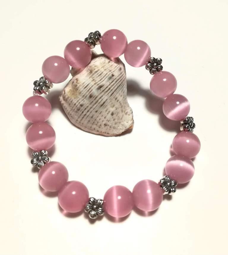 Браслет Кошачий глаз, натуральный камень, цвет розовый и его оттенки, тм Satori \ Sb - 0128