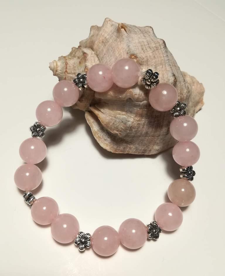 Браслет из Розового кварца, натуральный камень, цвет розовый и его оттенки, тм Satori \ Sb - 0060