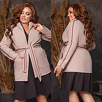 Пальто женское на запах в большом размере, фото 1