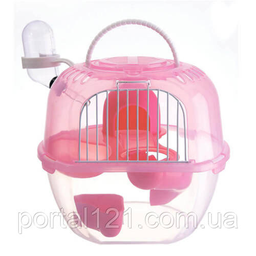 Клетка AnimAll Apple Style для хомяка, 20.5х18х22.5 см, розовая