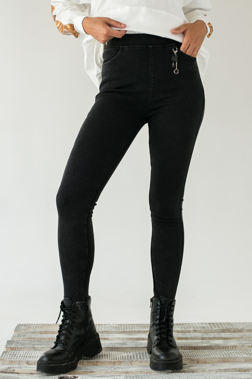 Стрейчевые плотные штаны на флисе FLNN - черный цвет, 25р (есть размеры)