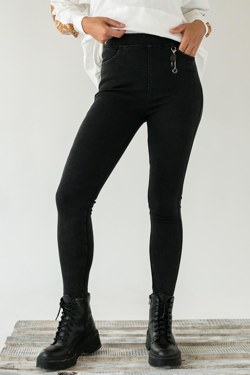 Стрейчевые плотные штаны на флисе FLNN - черный цвет, 27р (есть размеры)