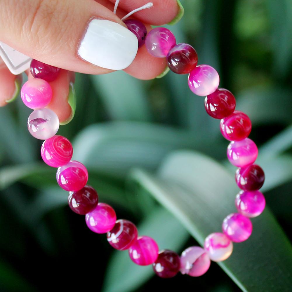 Браслет розовый мадагаскарский агат