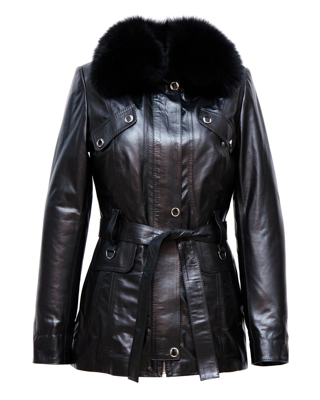Шкіряна куртка VK чорна трансформер довга (Арт. E202)