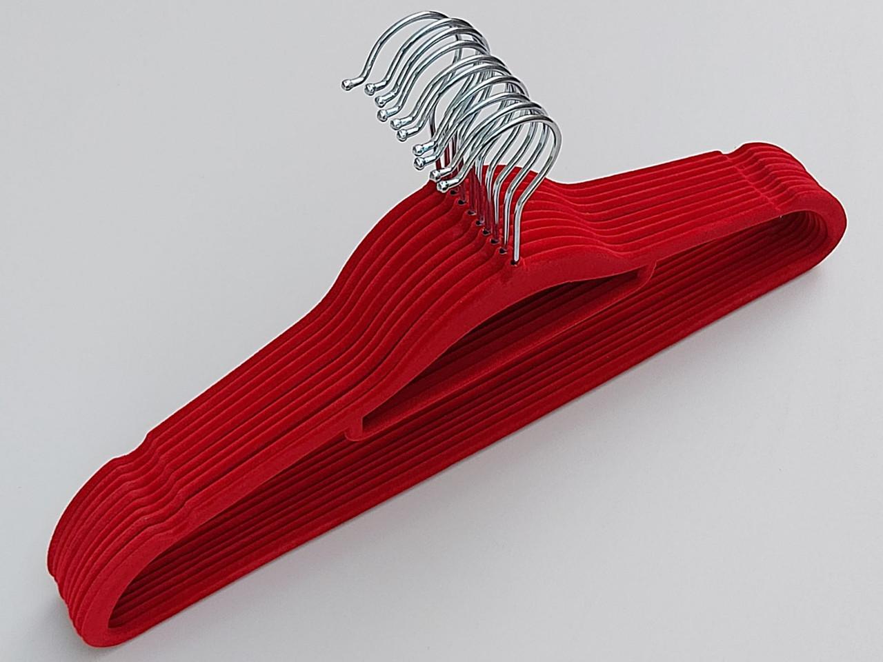 Длина 41,5 см Плечики флокированные (бархатные) красные, 10 штук в упаковке