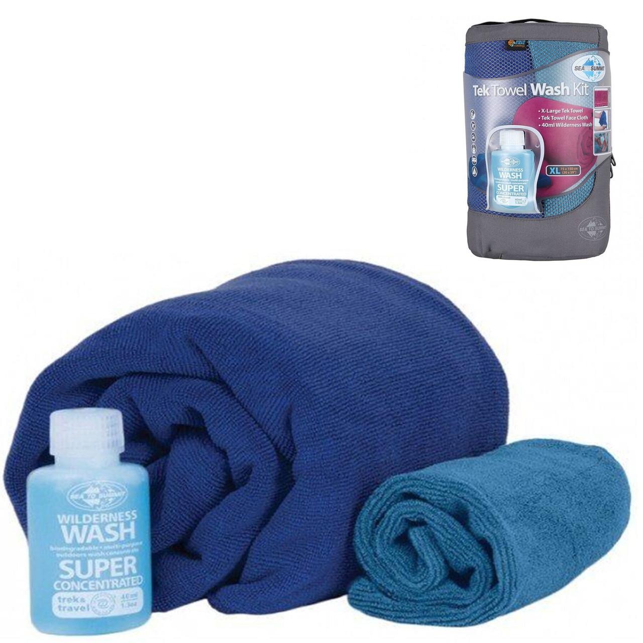 Набір рушників та шампунь Sea To Summit Tek Towel Wash Kit XL Cobalt Blue SKL35-254164