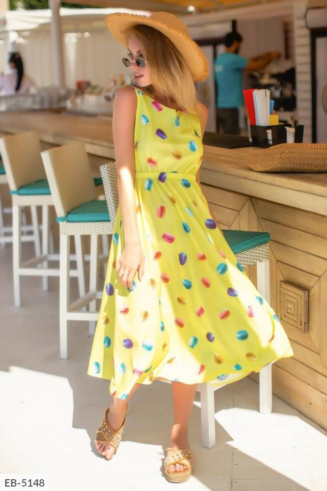 Платье принтованное легкое желтое SKL11-260620