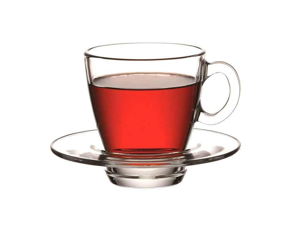 """Набор чашек для чая с блюдцем 210 мл Aqua упаковка 6 шт """"Pasabahce"""""""